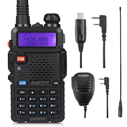 Baofeng UV-5RTP Triple-Power 8/4/1W dualband Funkgerät, verbesserte Version UV-5R, Dual Band VHF&UHF 8W Hochleistung Walkie Talkie mit Lautsprecher,Programmierkabel und Antenne, schwarz