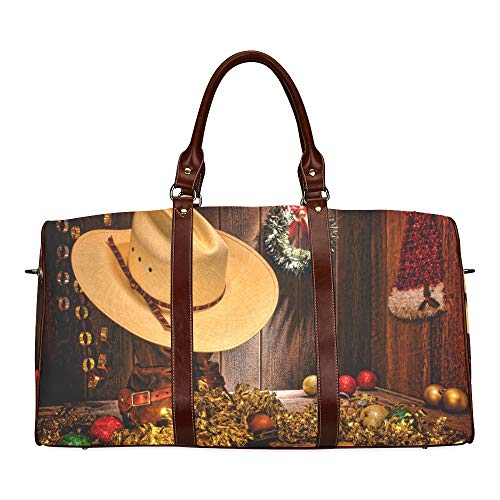 Travel Duffel Bag Farmhouse Mit Weihnachtsschmuck wasserdichte Weekender Bag Übernacht Carryon Handtasche Frauen Damen Einkaufstasche Mit Mikrofaser Leder Gepäcktasche (Rodeo Antik Leder)