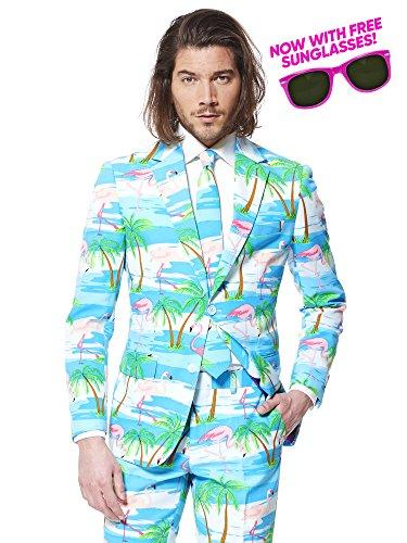 Der OppoSuits Flaminguy Anzug für Herren besteht aus Sakko, Hose und Krawatte mit lustigem Flamingo- und Palmen-Print - Jetzt mit passender Party-Sonnenbrille gratis! (Hawaii-print-shirts)