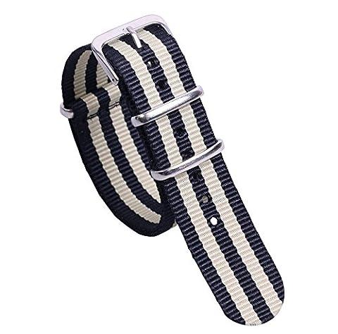 18mm noir / beige bracelets de montre de style NATO nylon classique élégant pour les hommes bandes Remplacements