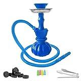 Mianova Moderne Wasserpfeife Hookah Shisha Neon aus Kunststoff 25cm im Set mit 1 Schlauch, 5 Mundstücke, Zange und Kohle 1 Rolle Blau