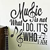 yiyiyaya Musik ist Nicht das was ich tue Wer ich Bin Inspirierend Aufkleber Zitat Wandtattoo rot 72x73cm