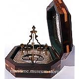 Latón macizo péndulo reloj de sol y la brújula en caja de madera c-3056