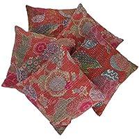 RAJRANG Indio étnico Cojín Kantha Work algodón cubierta de 16 por 16 pulgadas Juego de 5 piezas