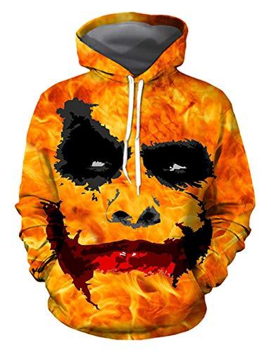 Herren Kapuzenpullover Halloween, Unisex Männer Damen Horror Clown Pennywise Joker Blut 3D Druck Hoodie Jungen Ugly Blood Schädel Pullover Kinder Skull Cosplay Pulli Sweatshirt Kostüm (Blood Sport Kinder Kostüm)