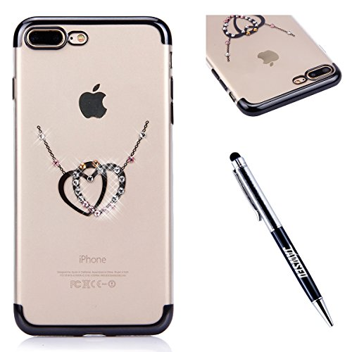 iPhone 6S Plus Strass Hülle,iPhone 6 Plus Handyhülle,JAWSEU Luxus Cool Kreative Shiny Sparkle Halskette Muster Rose Gold Plating Crystal Klar Silikon Bling Glitzer Shiny Bumper Case Schutzhülle Diaman Schwarz,Liebe Herz