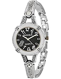 RIDIQA Analog Crystal Studded WHITE Dial Stainless Steel Golden Wrist Watch For Girls, Women-RD-074