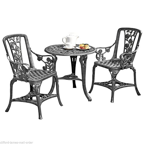 Antique Effect Rose Design 2 Seater Bistro Patio Set with Table UV-Stabilised PVC (Pewter)