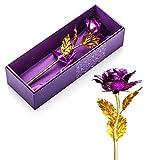Ausgefallene valentinstag geschenke für frauen,24K Blattgold Rose mit Geschenkbox,Mutter Tag Geschenk Geburtstag Geschenk Geburtstagsgeschenk ,geschenke zur hochzeit, Hochzeitsgeschenk(lila)