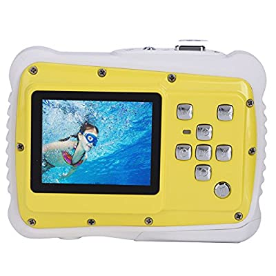 TOP-MAX Underwater Action Camera for kids with 2.0'' TFT LCD Screen HD720p 12MP Waterproof Digital Dustproof Camcorder Swimming Diving and Beaching(Yellow)