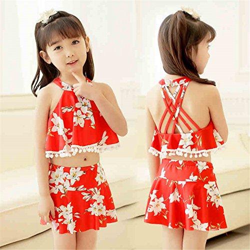 LXYFMS Kinder Bademode Mädchen Bikini Set Baby Split Kleine und mittlere Kinder Bademode (Color : Red, Size : XXXL)