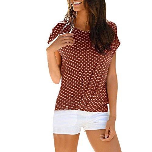 MRULIC Sommer Strand T-Shirt für Frauen und Mädchen Lose Sternchen Casual T-Shirt und Tops(I-Kaffeebraun,EU-42/CN-XL) -