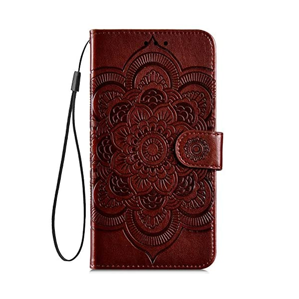 Uposao Compatible with Samsung Galaxy A50 Wallet Case Cute Mandala Flower Embossed Leather Wallet Flip Case Shockproof Protective Phone Cover with Kickstand Magnetic Card Holder,Brown Uposao Compatible Model:Samsung Galaxy A50 Package:1 x Wallet Case Cover,1 x Black Stylus Touch Pen Precision incision: Precise and Active-easily access to all ports, sensors, speakers, cameras and all Phone features.Change the volume, answer a call, charge your battery, take a picture, and listen to music without ever having to open your case 2