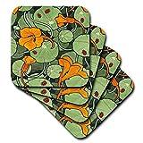 Russ Billington Illustrationen–Kunst Nouveau orange Kapuzinerkresse Blumen mit Marienkäfer–Untersetzer, keramik, Orange, set-of-4-Ceramic