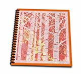 3dRose db_61889_1 Abstract Birch Trees in Forest of Orange, Yellow N Coral Drawing Book, 8 by 8-Inch