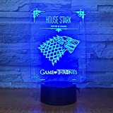 Dwthh House Stark Juego De Tronos Lobo Acrílico Lámpara Led 3D 7 Cambio De Color Acrílico 3D Luz De Noche Decoración Para Niños Regalo De Navidad Para Niños