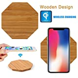 Fast Wireless Ladegerät, Gusspower Tragbares Holz Qi Drahtloses Ladestation Charger Ständer für iPhone 8/8 Plus, Iphone X Samsung Galaxy Note 8, S8 Plus, S7 S6 Edge [Ultra Slim] (B)