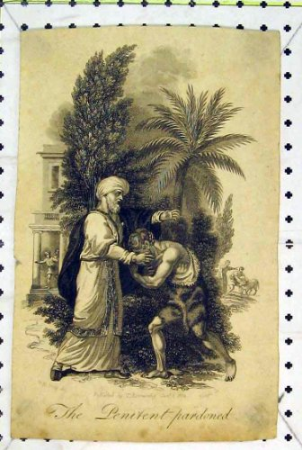 Antiker Druck-Reuevoller Begnadigter Mann, der Garten-Baum Bittet