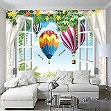 Papier Peint Pour Enfants Chambre Fenêtre Paysage Ballon Vignes Peinture Murale Salon Décoration Murale Murale 3D Imitation Tissu De Soie 300X210Cm