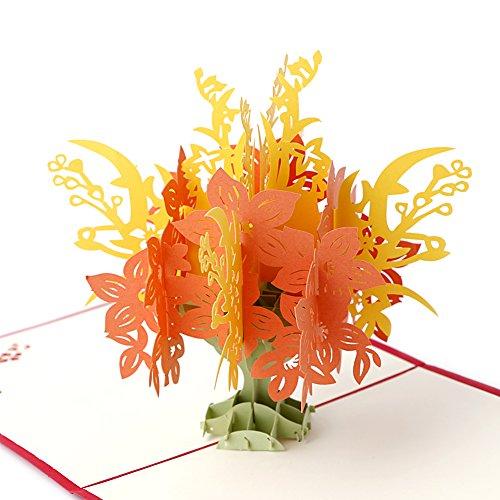 cuigu 3D Pop up Baum Grußkarte faltbar Postkarte Grußkarten für Geschenk-Muttertag Geburtstag Hochzeit Valentinstag mit Umschlag