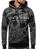 OZONEE Herren Kapuzenpullover Sweatshirt Langarmshirt Sweatjacke Pullover Print Hoodie JS/DD272