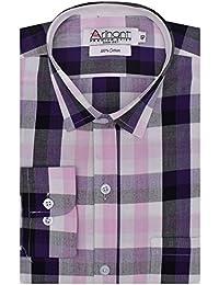 Arihant Men's Checkered Full Sleeves Reguler Fit 100% Cotton Club Wear Formal Shirts