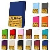 Jacobson GOLD Edition Jersey Spannbettlaken Spannbetttuch Baumwolle mit ELASTAN ca. 200 g/m² (200 x 220 cm + 40cm, Weiss)