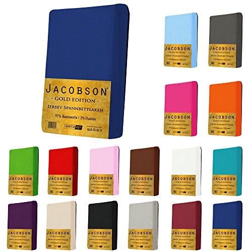 Jacobson Gold Edition Jersey Spannbettlaken Spannbetttuch Baumwolle mit ELASTAN ca. 200 g/m² (140x200 cm - 160x200 cm, Royal Blau)