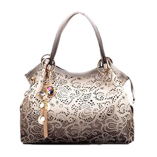 Yueling Frauen Handtaschen Aushöhlen Ombre Blumendruck Schulter Crossbody Taschen Damen Pu-Leder Totes Mode Umhängetasche Weiblich Gray