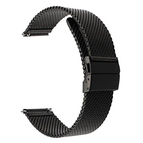 Für Samsung Gear Sport Armband, TRUMiRR 20mm Upgraded Milanese Uhrenarmband Edelstahl Knopf Schnalle Schnellverschluss Armband für Gear S2 Classic (SM-R732/R735), Garmin Vivoactive 3, Moto 360 2 42mm Männer, Huawei Watch - Edelstahl Tissot Uhrenarmband