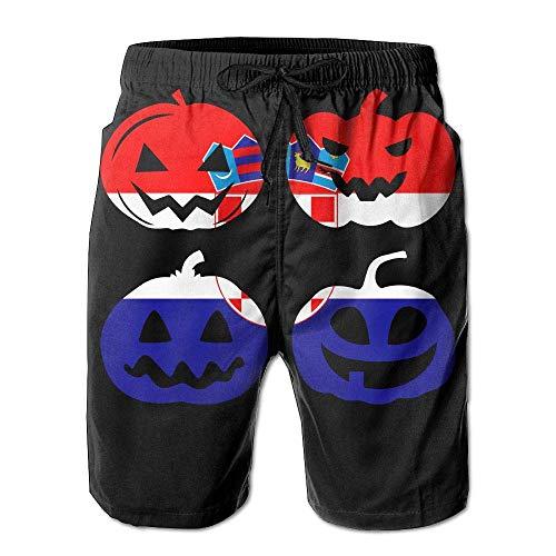 Ytavv Men's Beach Shorts Fit Croatia Halloween Pumpkin Head 100% Polyester Gym Shorts/L (Is 2019 Halloween Everyday)