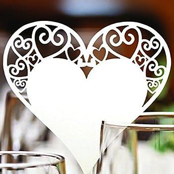 50st Tischkarten Namenskarten Glasanhänger Weinglas Cup Deko Platzkarten für Hochzeit Party Tischdeko (50st Herz-Entwurf Glasanhänger)
