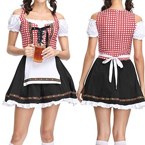 Kostüm Details Tanzkleider - Sumeiwilly Damen Dirndl Trachtenkleid Rot Tracht Kleid Damen Dirndl für Oktoberfest Traditionall Kostüme Kurzarm Mini 3 TLG Trachtenkleid