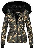 Navahoo Damen Winter Jacke warm gefüttert Teddyfell Stepp Winterjacke B361 (L, Camouflage - Army)