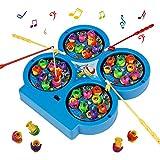 Mini Gioco di Pesca Elettronico Pesca Magnetica Giocattoli Musicali per Bambini 3 Anni, Colore Casuale