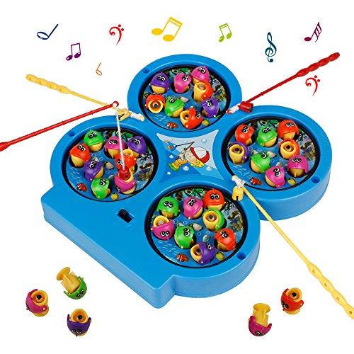 HCHENG Mini Gioco di Pesca Elettronico Pesca Magnetica Giocattoli Musicali per Bambini 3 Anni, Colore Casuale
