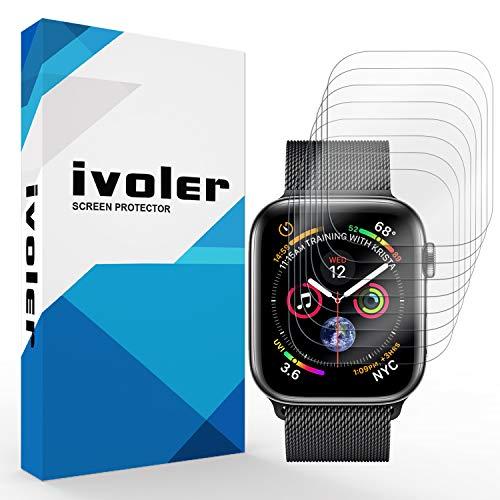 iVoler [8 Pezzi] Pellicola Protettiva per Apple Watch 40mm / 38mm [Series 5/4 / 3/2 / 1], Wet Applied Protezione Schermo [Bubble-Free-Riutilizzabile] HD Clear Film in TPU