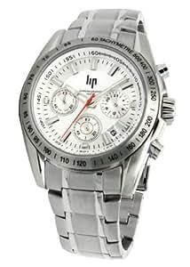 Lip - 10510242 - Montre Homme - Quartz Analogique - Cadran Blanc - Chronographe - Bracelet en Acier
