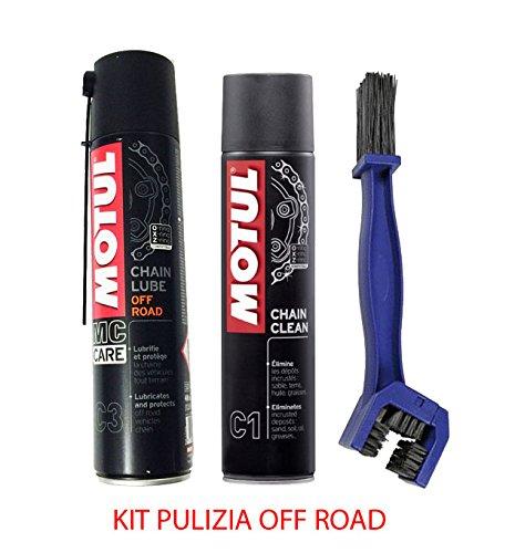 Motul Chain Clean cleaner kit C1 + Motul C3 chain Lube Off Road + Cepill