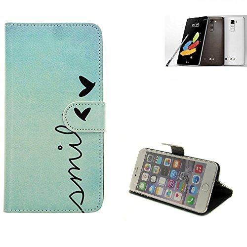 K-S-Trade® Für LG Stylus 2 DAB+ Hülle Wallet Case Schutzhülle Flip Cover Tasche Bookstyle Etui Handyhülle ''Smile'' Türkis Standfunktion Kameraschutz (1Stk)