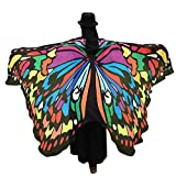 HLHN Frauen Schmetterling Flügel Schal Schals Nymphe Pixie Poncho Kostüm Zubehör für Show / Daily / Party 36 Stil (Large, Mehrfarbig B)