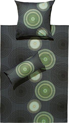 REDBEST Bettwäsche Satin anthrazit-grün Größe 135x200 cm (80x80 cm)