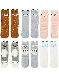 VWU Lot de 6 Paires Unisexe Bébés Filles Garçon Infant Genou Haute Stockage Cartoon de Nouveau-Nés Chaussettes en Coton