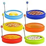 E-More Ei Ring, 6 Pack Spiegeleiform für Bratpfanne Ei Ringe Silikon Pfannkuchenform Rund Omelett Form Für Eier Kochen