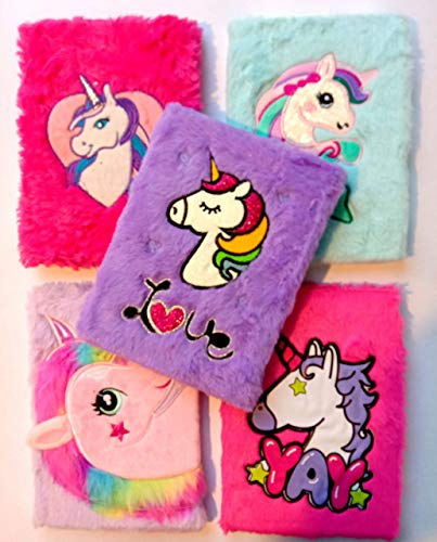 MSGH Soft Plush Feather/Lovely Notebook Diary with Different Design for Girls (Design: Unicorn)