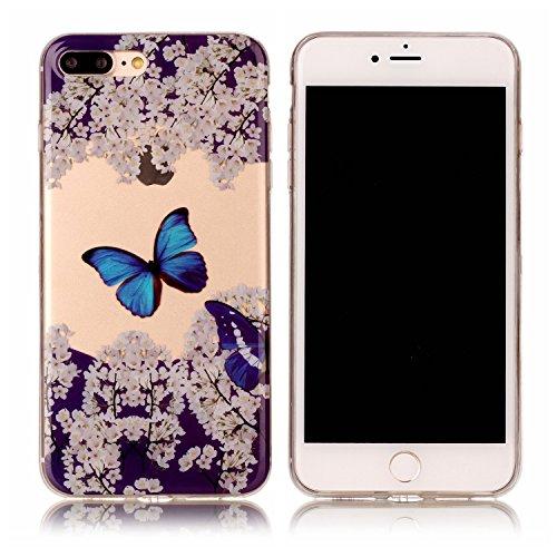 Per Apple iphone 7 Plus,Sunrive® Custodia Cover Case in molle Trasparente Ultra Sottile TPU silicone Morbida Flessibile Pelle Antigraffio protettiva(Fiore rosso farfalla) Farfalla blu