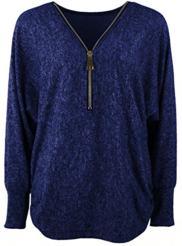 Emma & Giovanni - Damen - Langarmshirt - Pullover - Top & Shirt (L/XL, Blau)