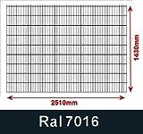 BBT@/1 x Doppelstabmatte Gittermatte Zaunfeld 6/5/6 Anthrazit Höhe 143cm Breite 250cm ohne Pfosten