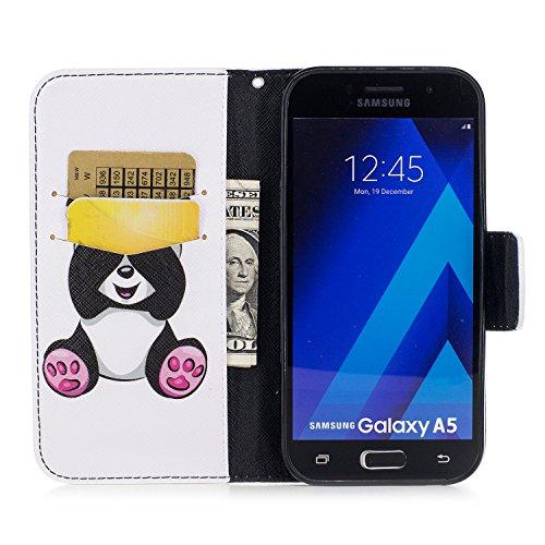 Samsung Galaxy A5 (2017) (5.2 pouce) Coque , PU Cuir Étui Protection Wallet Housse la Haute Qualité Pochette Anti-rayures Couverture Bumper Magnétique Antichoc Case Anfire Cover pour Samsung Galaxy A5 Panda
