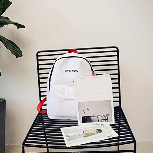 Zaino Per Le Donne,Kword ' Super Herò Lettera Di Stampa Scuola Borsa Viaggio Zaino Borsa Casual Canvas Ragazza Stile Preppy Bianco